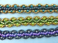 FREE beading pattern for Sophia Bracelet, using only 11/0 and 6/0 #Seed #Bead #Tutorials