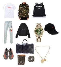 """""""Hypebeast"""" by christong01 ❤ liked on Polyvore featuring Gucci, Off-White, adidas, Louis Vuitton, Rolex, Versace, Chrome Hearts, Goyard, Givenchy and men's fashion"""