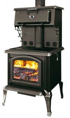 Cooking Wood Stove High Efficiency Gr H Btu Head Up To 2500 Square Feet Equipped With A Food Warmer Black Enameled Cast Iron