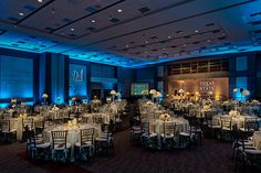 Texas State Illumni Gala 2016 | Custom Monogram Projection, Blue Uplighting, Pinspotting, Stage Lighting | Photo by Jerry Hayes Photography - www.jerryhayesphoto.com | by IntelligentLightingDesign