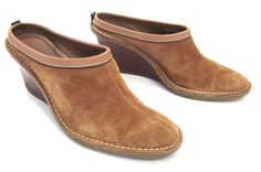 Cole Haan 7.5 Brown Suede Wedge Clogs Mules Slides Shoes D20176