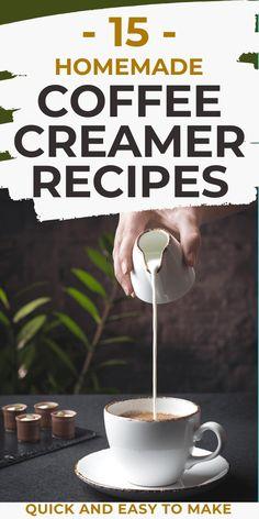 Easy Coffee Creamer Recipe, Almond Milk Coffee Creamer, Pumpkin Coffee Creamer, Healthy Coffee Creamer, Dairy Free Coffee Creamer, Homemade Coffee Creamer, Coffee Drink Recipes, Iced Coffee, Coffee Milk