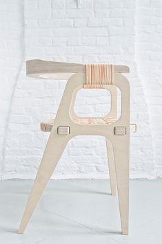 Furniture by Studio Klaer---The Bind Chair by Jessy Van Durme Plywood Chair, Plywood Furniture, Home Furniture, Modern Furniture, Furniture Design, Cheap Furniture, Plywood Walls, Furniture Outlet, Furniture Stores