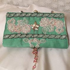 #Mint Green Clutch, #Vintage Beaded Applique #Bridal Purse
