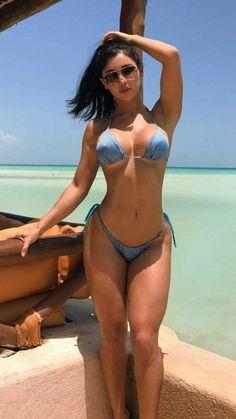 Blonde fitness yoga girl in jungle, with perky big boobs in sexy bikini swimwear. Sexy Bikini, The Bikini, Bikini Babes, Bikini Swimwear, Bikini Azul, Corpo Sexy, Bikini Workout, Brazilian Bikini, Fit Women