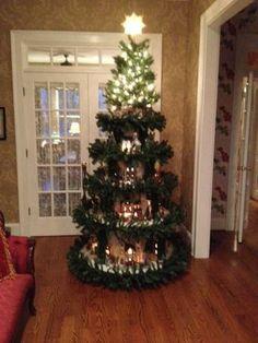 Snow village Christmas tree, Christmas tree to display snow village houses, Christmas house display, Holidays Design