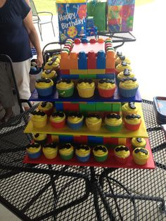DIY Lego batman cupcakes and stand... They were a hit!