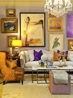 Image result for yellow and lilac living room