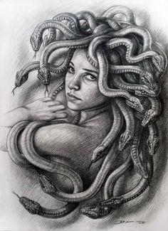 "Saatchi Art is pleased to offer the drawing, ""Medusa. Denis Nunez,"" by Hanoi Martinez. Original Drawing: N/A on Cardboard. Ozzy Tattoo, Body Art Tattoos, Drawings, Medusa Drawing, Mythology Tattoos, Female Art, Medusa Painting, Art, Original Drawing"