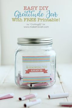 Discover recipes, home ideas, style inspiration and other ideas to try. Mason Jar Crafts, Mason Jars, Gratitude Jar, Bday Gifts For Him, Jar Labels, Jaba, Sewing For Kids, Homemade Gifts, Fun Crafts