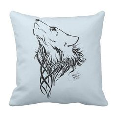 Tribal Wolf Throw Pillow - black gifts unique cool diy customize personalize