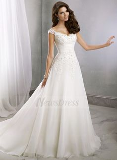 A-Line/Princess V-neck Court Train Beading Appliques Lace Chiffon Covered Button Cap Straps Sleeveless Church Hall Reception No Spring Summer Fall Ivory White Wedding Dress