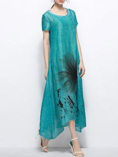 Green Short Sleeve Asymmetric Maxi Dress