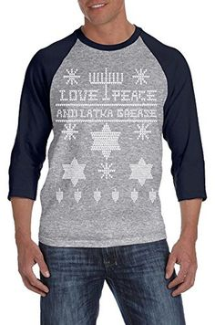 Ugly Hanukkah Sweater RAGLAN Funny Ugly Sweater Shirt Holiday Tee L - Brought to you by Avarsha.com