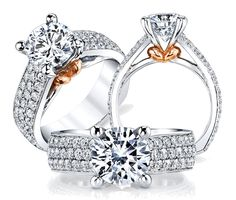Rose & White Gold Diamond Engagement Ring, 1.37 ct tw, VS1-2 in clarity and G-H in color.