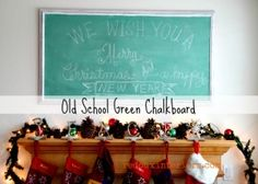Make an Old School Green Chalkboard with a custom mix of #CeCecaldwellspaints and an old 80's style print. REDOUXINTERIORS.COM FACEBOOK: REDOUX #Cececaldwellsalaskatundragreen #cececaldwellsmichiganpine #cececaldwellsemeraldisle #redouxinteriors