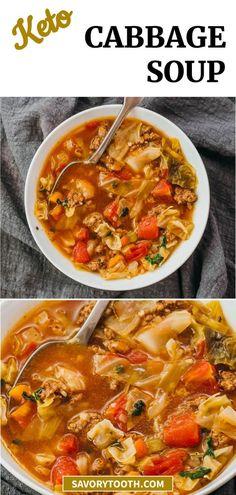 Cabbage Soup Recipes, Cabbage Soup Diet, Diet Soup Recipes, Italian Cabbage Soup Recipe, Weight Watchers Cabbage Soup Recipe, Low Carb Vegetable Soup, Veg Soup, Italian Vegetable Soup, Ground Turkey Soup
