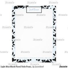 Shop Light Blue Black Floral Toile Frame Personalized Letterhead created by LeonOziel. Addressing Envelopes, Personalized Stationery, Letterhead, Letter Size, Blue And White, Black, Thank You Cards, Light Blue, Lettering