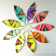 Candy Colored Pastel   Tribal Print Chevron Feather Earrings