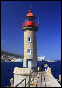 Lighthouse in Bastia Harbour, Corsica ♠ re-pinned by http://www.waterfront-properties.com/