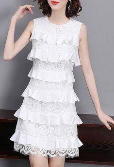 Sweet Pure Color O-Neck Sleeveless Lace Falbala Skater Dress