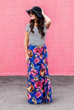 Cobalt Wrap Floral Maxi Skirt // http://hotcommodesty.com/collections/skirts/products/cobalt-wrap-floral-maxi-skirt
