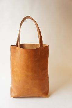 Simple Leather Tote Cognac by stitchandtickle on Etsy