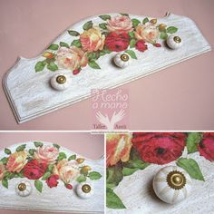 """""""Taller Antü"""": 793.- Percha Romántica Diy Crafts For Gifts, New Crafts, Easy Diy Crafts, Wood Crafts, Mirrored Picture Frames, Craft Stalls, Painted Wine Bottles, Decoupage Vintage, Painted Furniture"""