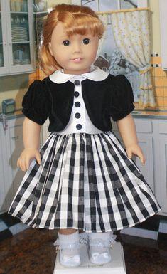 American Girl Style Jacket Dress in Black Velvet