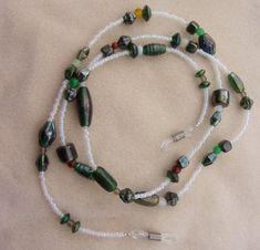 Pearlized Glass Bead Lanyard - Whimsical Handmade with Iridescent Green Focal Beads, OOAK Eyeglass & Badge Lanyard by JewelryArtistry - L284