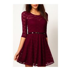 Rotita Wine Red Half Sleeve Lace Skater Dress ($19) ❤ liked on Polyvore featuring dresses, wine red, red skater dress, a line dress, lace skater dress, skater dress and red dress
