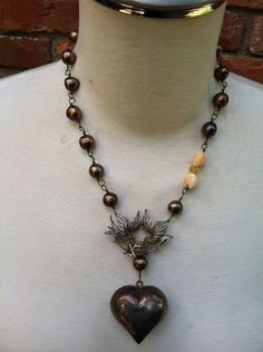 LOVE BIRDS 3 Terrific Bronze Pearl Necklace with by DRAMAJEWELRY  $210