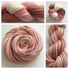 Neapolitan ~ Dyed on my most popular base, superwash merino worsted weight, and as soft and yummy as the ice cream!Colors: pale pink, cream, brown (I use only professional grade dyes) Yards: +\- 226 yardsWeight: worsted weight Fiber: superwash merino Care instructions: machine wash gentle cycle, lay flat to dry #yarnbaby #yarn #crochet #knit #weaving