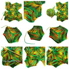 Illusion cube knitting (garter parallelograms > hexagons) and the design possibilities!