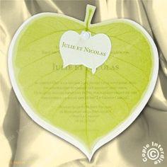 Faire-part Mariage vert feuille