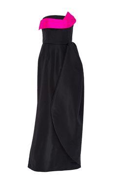 Navy Pink Silk Strapless Evening Gown by Oscar de la Renta Now Available on Moda Operandi