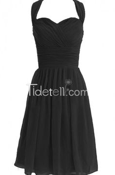 A-line Chiffon Sweetheart Halter Empire Knee Length Bridesmaid Dresses Ruched
