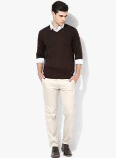 d030e8e6333 Buy Raymond Brown Solid Slim Fit V Neck Sweaters Online - 5736801 - Jabong