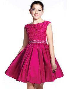 Pink Lace Bodice Short Bat Mitzvah Dress.