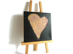 Gold Heart Mixed media original Heart on deep red by shelikesthis