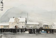 "Lars Lerin Born 1954 ""Henningsvaer"". (d) Signed Lars Lerin and dated 90. Watercolor circa 38 x 55 cm."
