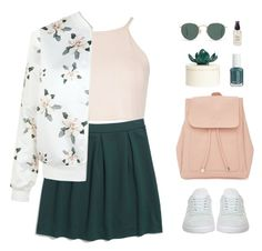 """""""Light Topping"""" by sweetpastelady ❤ liked on Polyvore featuring New Look, Madewell, J.Crew, adidas, Essie and Olivine"""