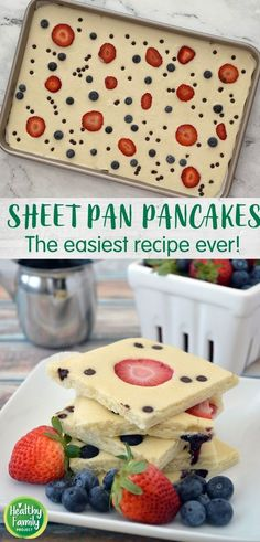 These Sheet Pan Pancakes are so easy to whip up any day of the week – no waiting and no flipping required! Just pour onto a sheet pan, add your toppings and bake. This recipe calls for strawberries, blueberries and chocolate chip, but you can easily mix-and-match with your favorite toppings. Great for feeding a crowd too! Blueberry Chocolate, Mini Chocolate Chips, Super Healthy Recipes, Healthy Breakfast Recipes, Blueberries, Strawberries, Pancake Toppings, Batter Recipe, How To Make Pancakes