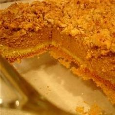 Yellow cake mix takes the place of crust in this pumpkin dessert reminiscent of a pumpkin pie in a dish.