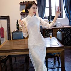 White New Long Slim Cheongsam Dress Chinese Ladies Traditional Lace Qipao Novelty Sexy Flower Dress SizeS M L XL XXL F092001