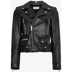 Saint Laurent Leather Biker Jacket ($5,525) ❤ liked on Polyvore featuring outerwear, jackets, moto jacket, leather biker jackets, leather motorcycle jacket, leather jackets and rider leather jacket