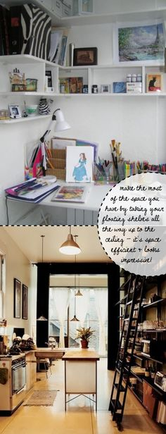 Design ideas for your rental flat or small space  -- Make Use of Space With Floating Shelves