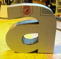 cardboard letter how to.  Fun to make one for each of the boys.