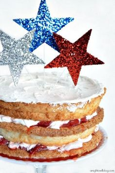 Patriotic Layered Strawberry Shortcake