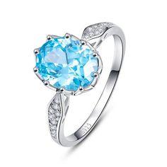 Blue Topaz Gem Stone Ring